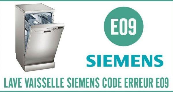 Lave-vaisselle Siemens Erreur E09